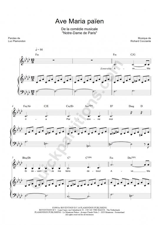Partition piano Ave Maria païen - Notre dame de paris