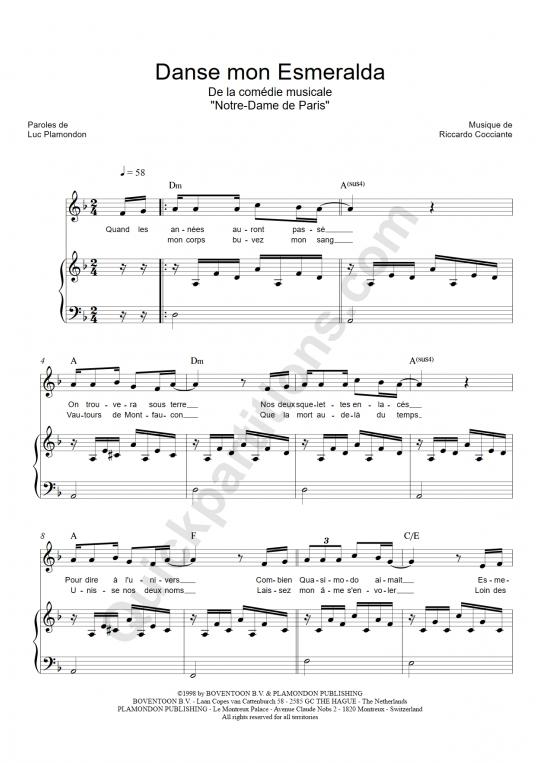 Partition piano Danse mon Esmeralda - Notre dame de paris