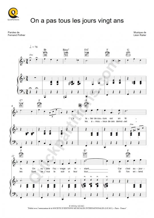 Partition piano On a pas tous les jours vingt ans - Berthe Sylva