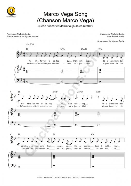 Partition piano Marco Vega Song (Chanson Marco Vega) - Oscar et Malika