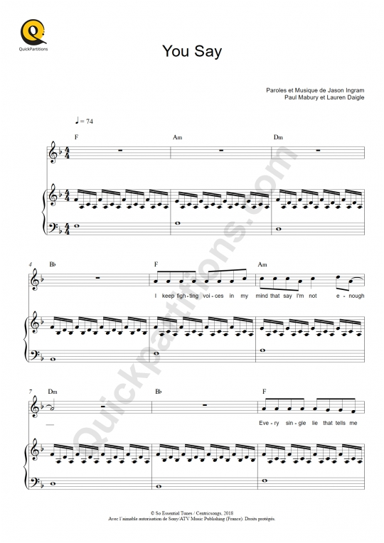 Partition piano You Say - Lauren Daigle