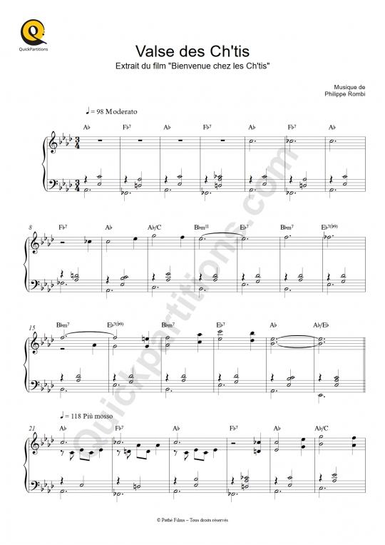 Partition piano Valse des Ch'tis - Bienvenue chez les ch'tis