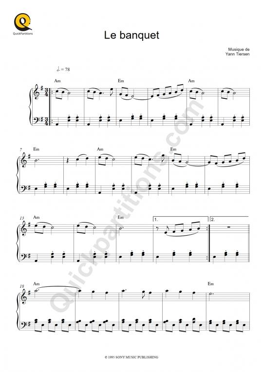 Partition piano Le banquet - Le fabuleux destin d'Amélie Poulain