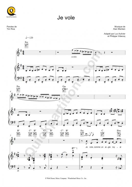 Partition piano Je vole - Aladdin