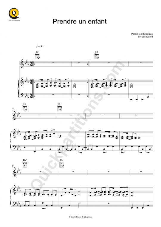 Prendre un enfant  Piano Sheet Music - Yves Duteil