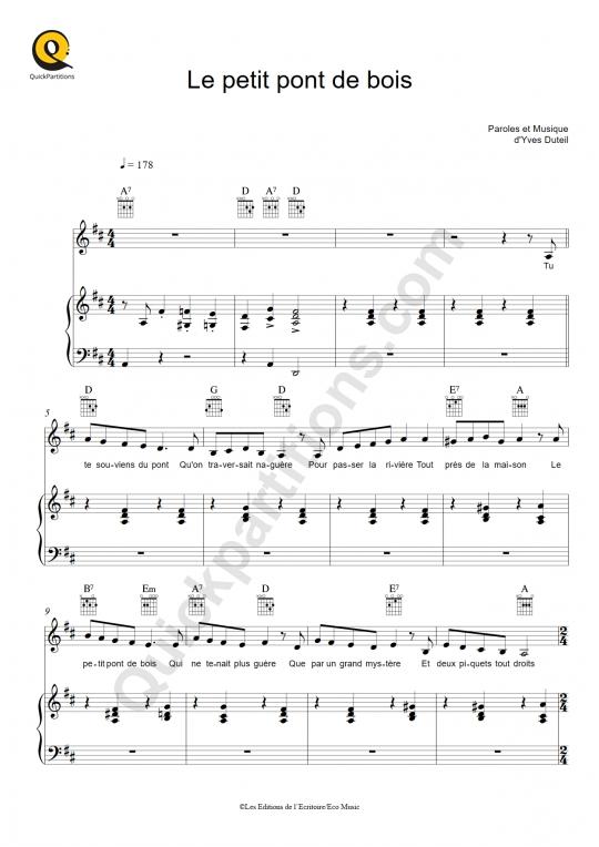 Partition piano Le petit pont de bois - Yves Duteil