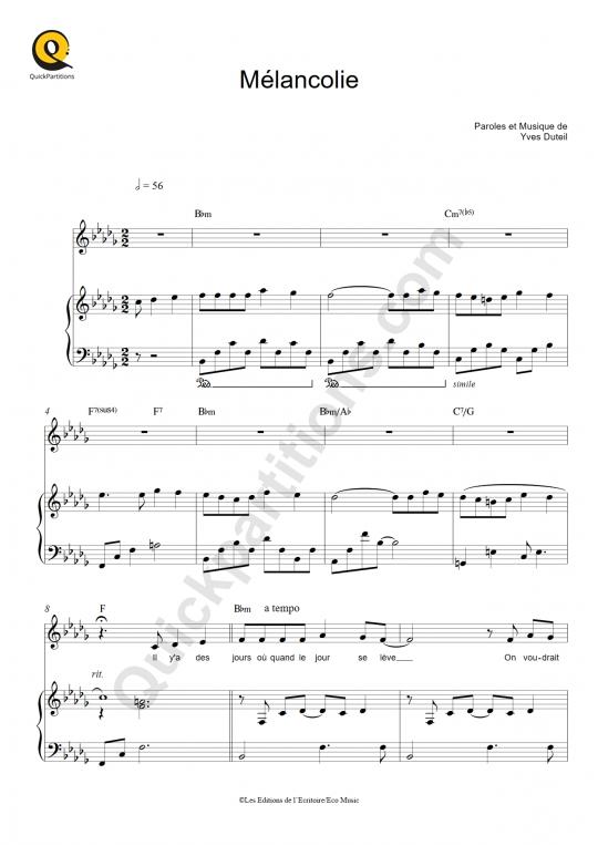 Partition piano Mélancolie - Yves Duteil
