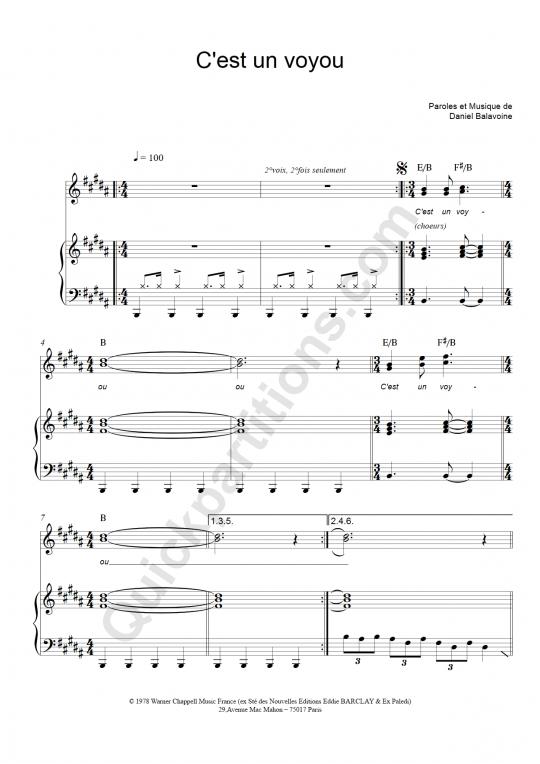 Partition piano C'est un voyou - Daniel Balavoine