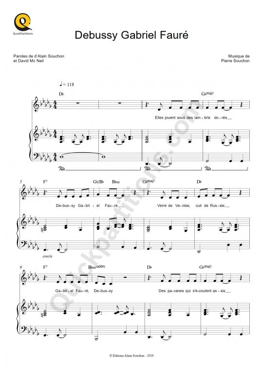 Partition piano Debussy Gabriel Fauré - Alain Souchon