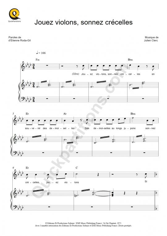 Partition piano Jouez violons, sonnez crécelles - Julien Clerc