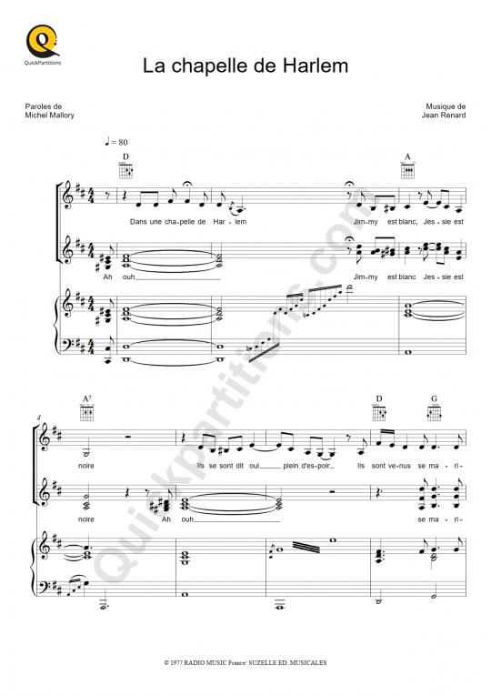Partition piano La chapelle de Harlem - Jeane Manson
