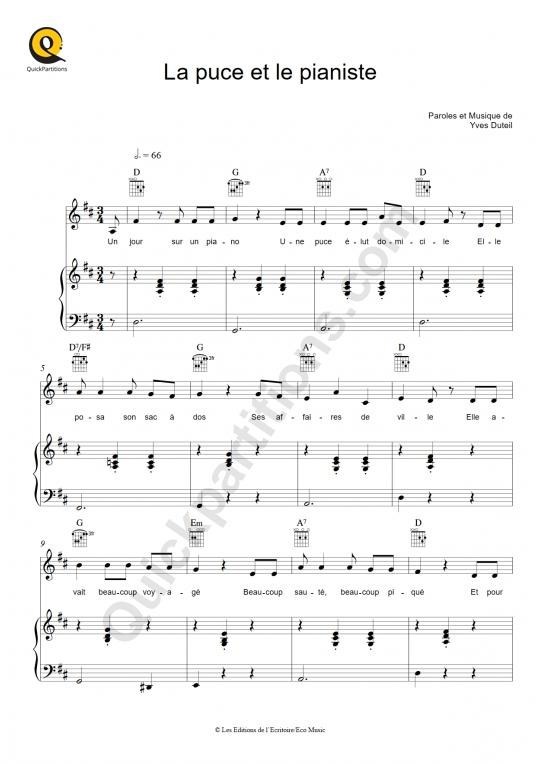 Partition piano La puce et le pianiste - Yves Duteil