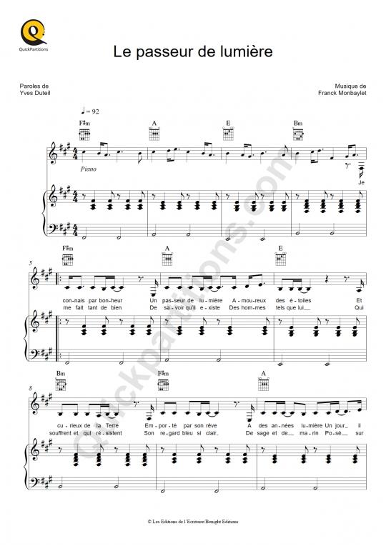 Partition piano Le passeur de lumière - Yves Duteil