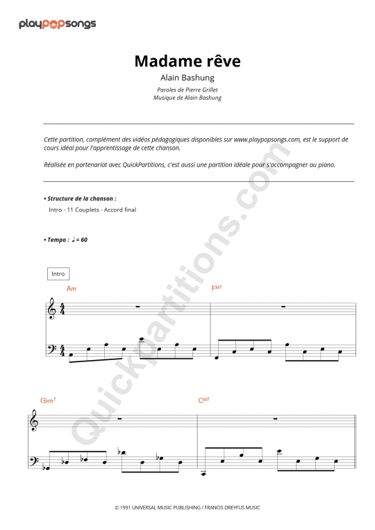 Madame rêve Piano Sheet Music - PlayPopSongs