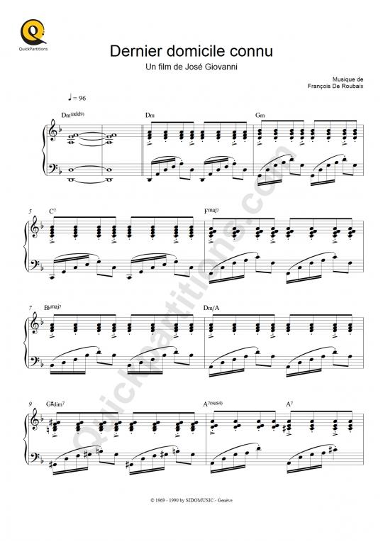 Partition piano Dernier domicile connu - François De Roubaix