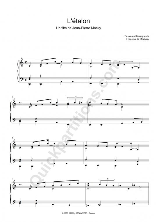 Partition piano L'étalon - François De Roubaix