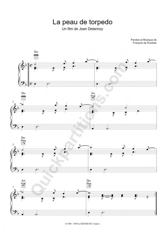 Partition piano La peau de torpedo - François De Roubaix