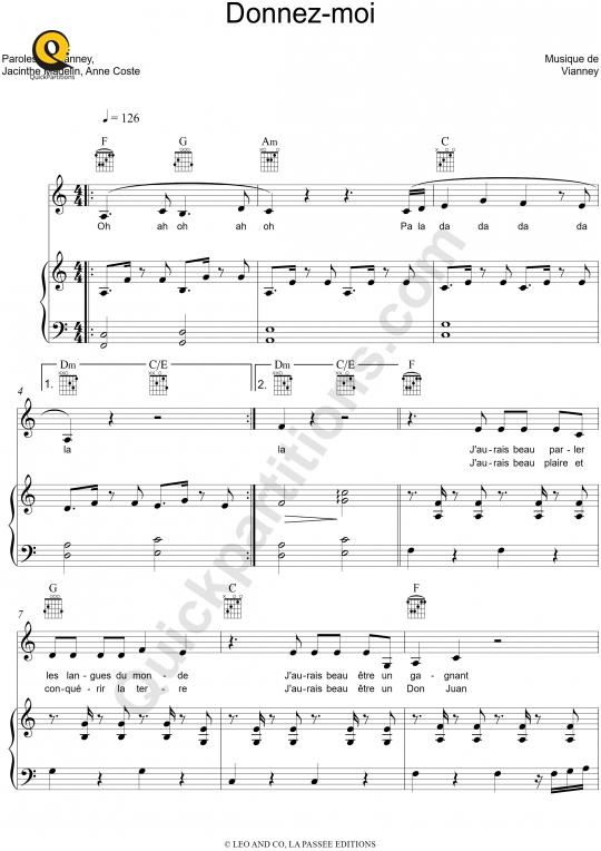 Partition piano Donnez-moi - Les frangines
