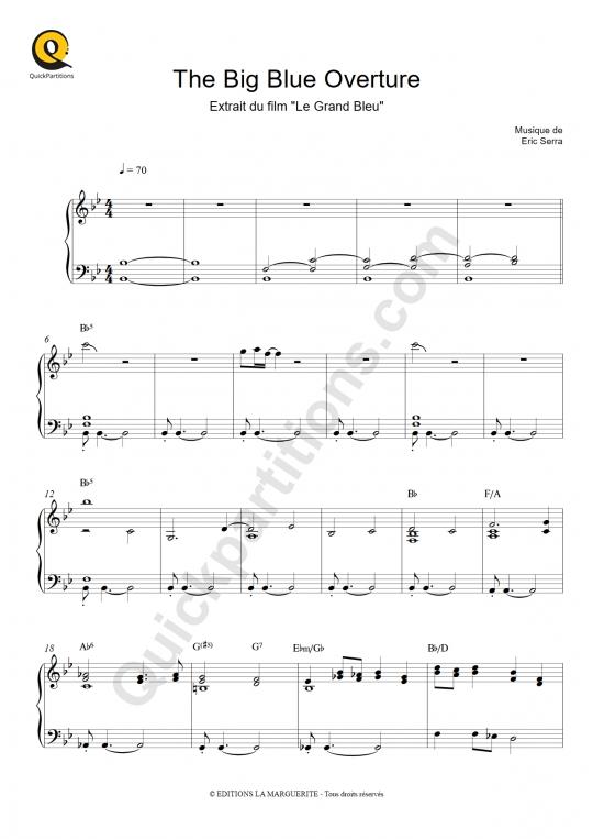 Partition piano The Big Blue Overture (Le grand bleu) - Eric Serra