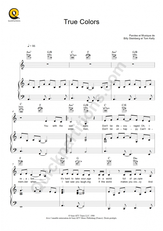 True Colors Piano Sheet Music - Cyndi Lauper