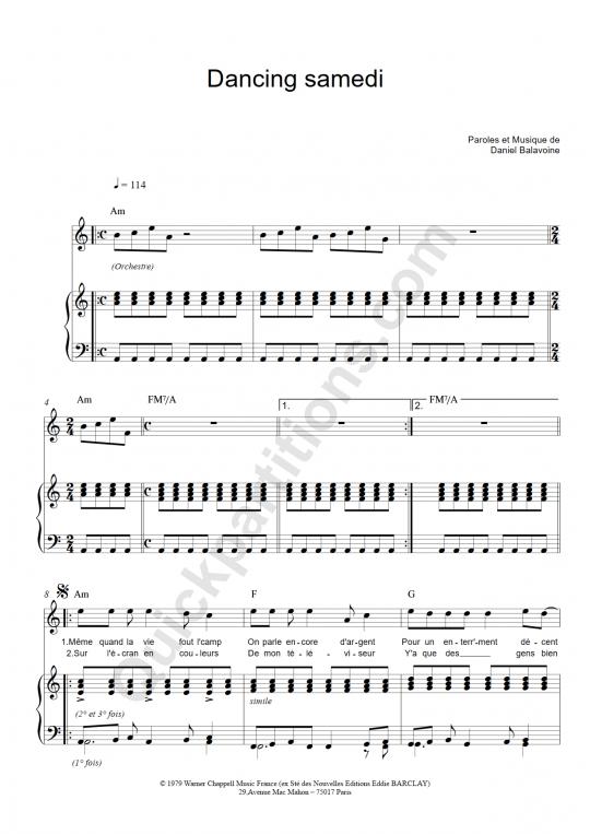 Partition piano Dancing Samedi - Daniel Balavoine