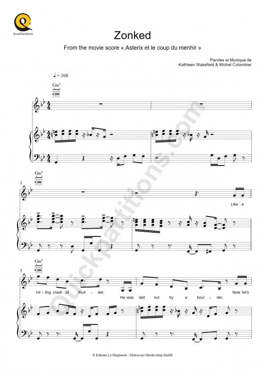 Partition piano Zonked (Asterix et le coup du menhir) - Michel Colombier