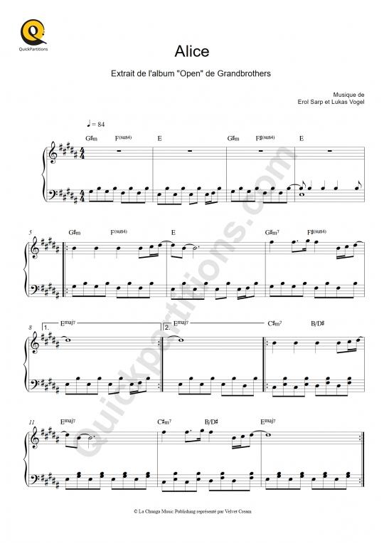 Partition piano Alice - Grandbrothers
