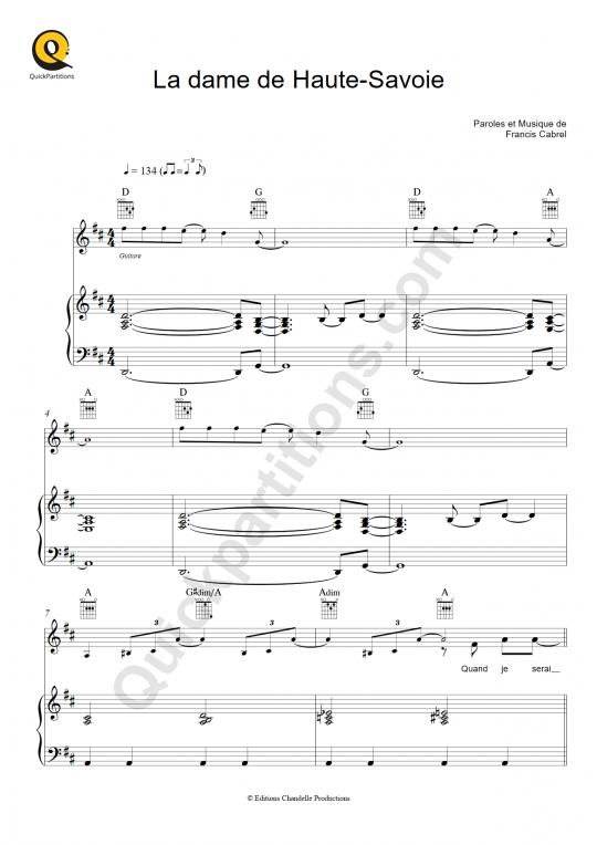 Partition piano La dame de Haute-Savoie - Francis Cabrel