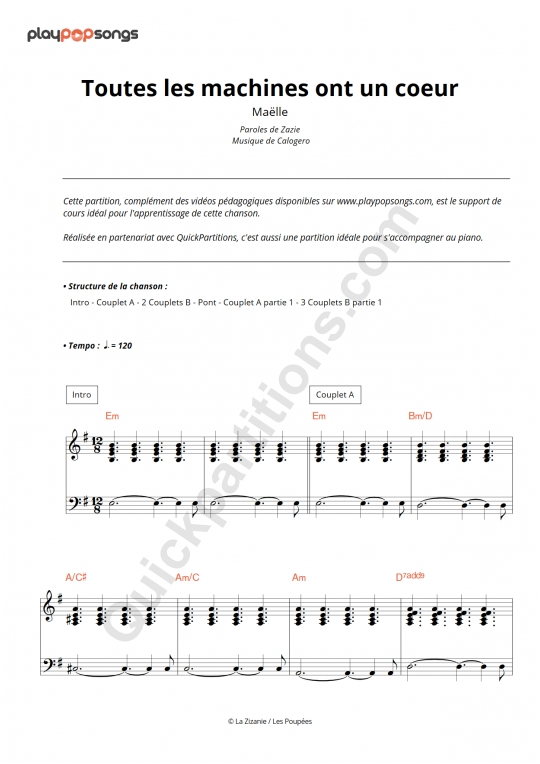 Toutes les machines ont un coeur Piano Sheet Music - PlayPopSongs