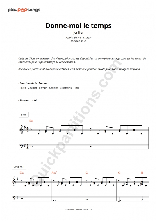 Donne-moi le temps Piano Sheet Music - PlayPopSongs