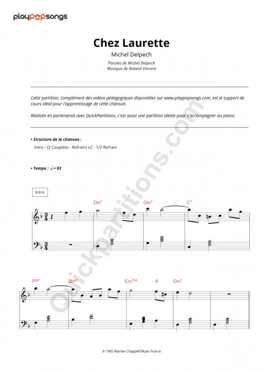 Chez Laurette Piano Sheet Music - PlayPopSongs