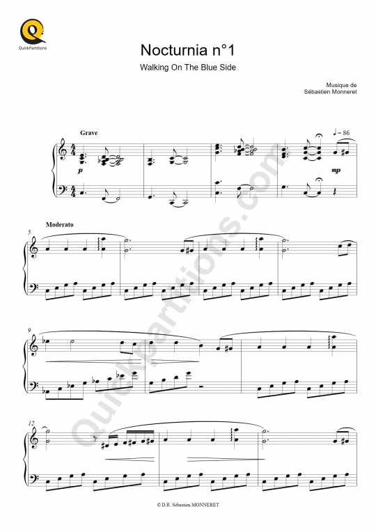 Nocturnia n°1 Piano Sheet Music - Sébastien MONNERET