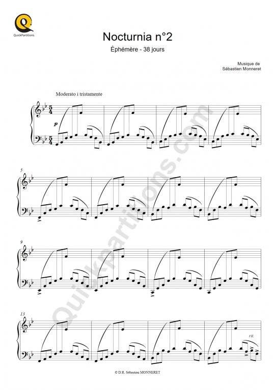 Partition piano Nocturnia n°2 - Sébastien MONNERET