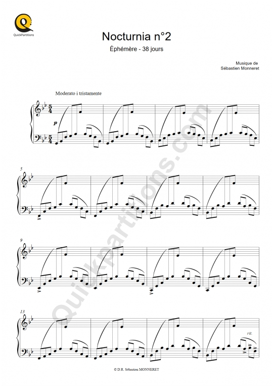 Nocturnia n°2 Piano Sheet Music - Sébastien MONNERET