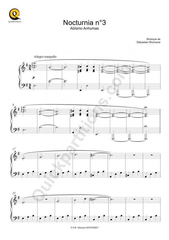 Partition piano Nocturnia n°3 - Sébastien MONNERET