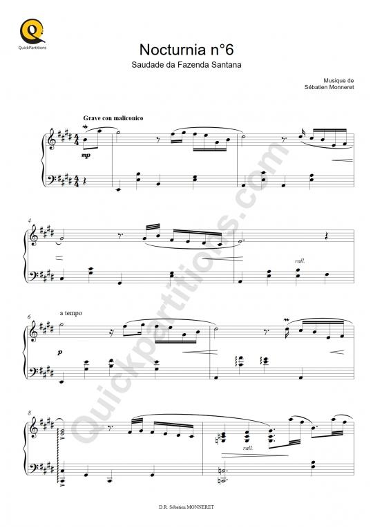 Partition piano Nocturnia n°6 - Sébastien MONNERET