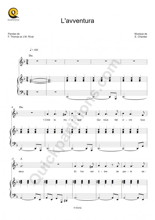 Partition piano L'avventura - Stone et Charden