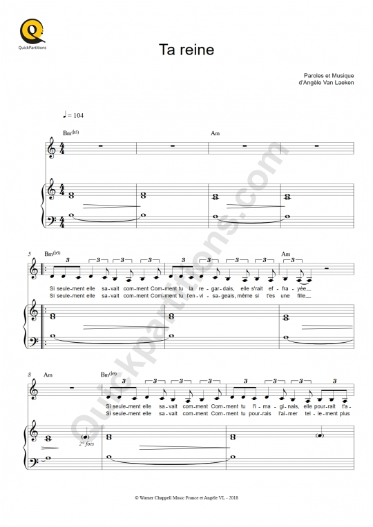 Ta reine Piano Sheet Music - Angèle