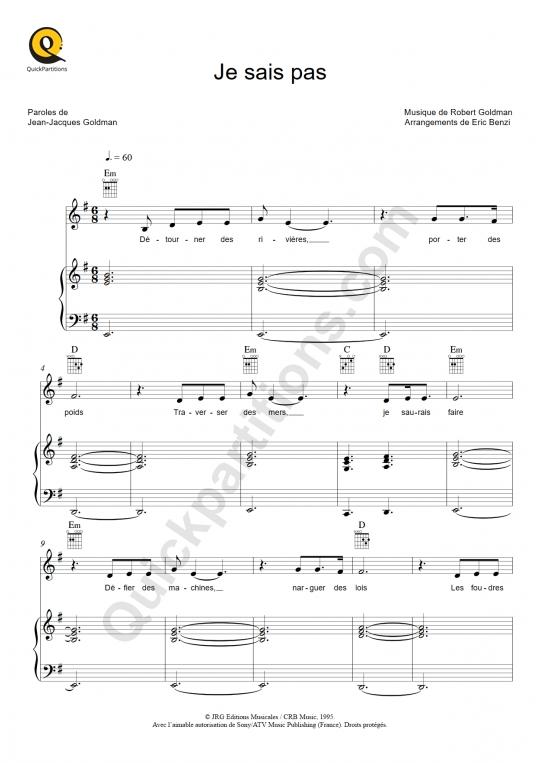Partition piano Je sais pas - Céline Dion