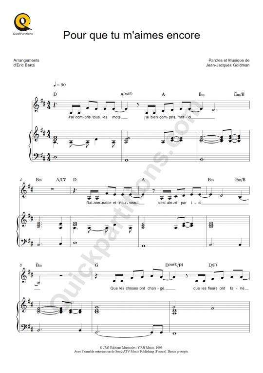 Partition piano Pour que tu m'aimes encore - Céline Dion