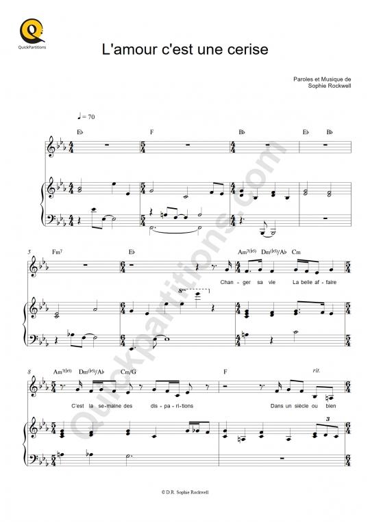 Partition piano L'amour c'est une cerise - Sophie Rockwell
