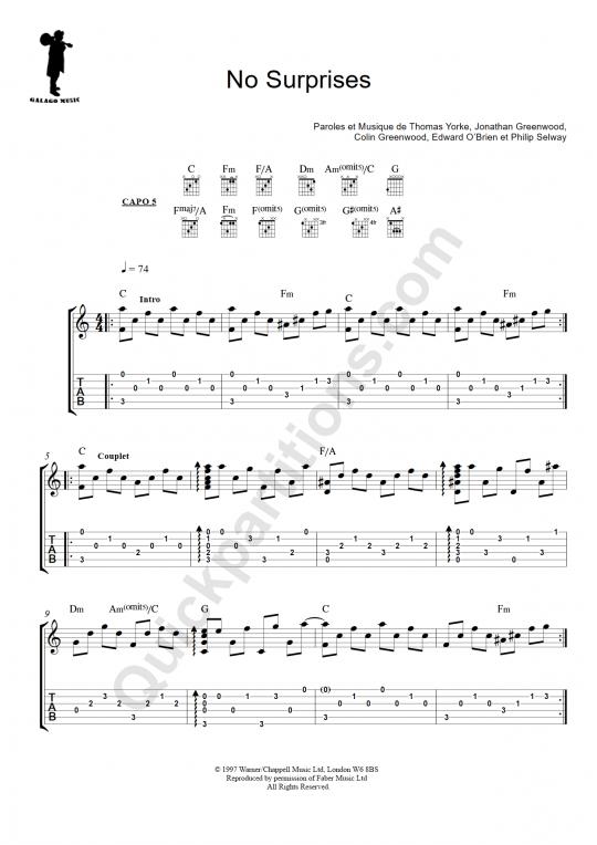 Tablature Guitare No Surprises - Galagomusic