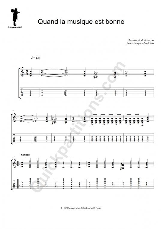 Tablature Guitare Quand la musique est bonne - Galagomusic