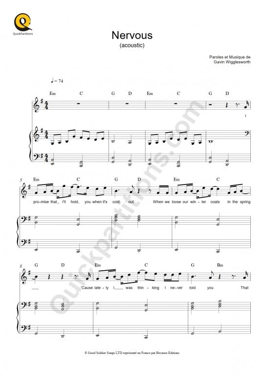 Partition piano Nervous - Gavin James