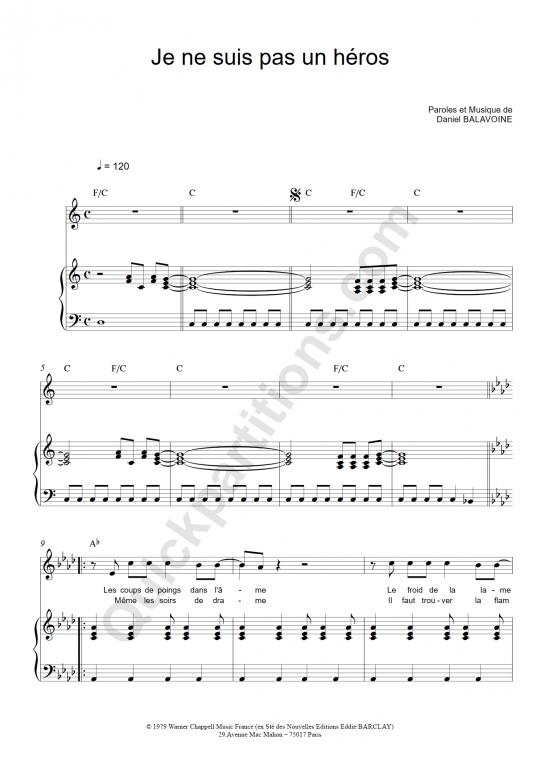 Partition piano Je ne suis pas un héros - Daniel Balavoine