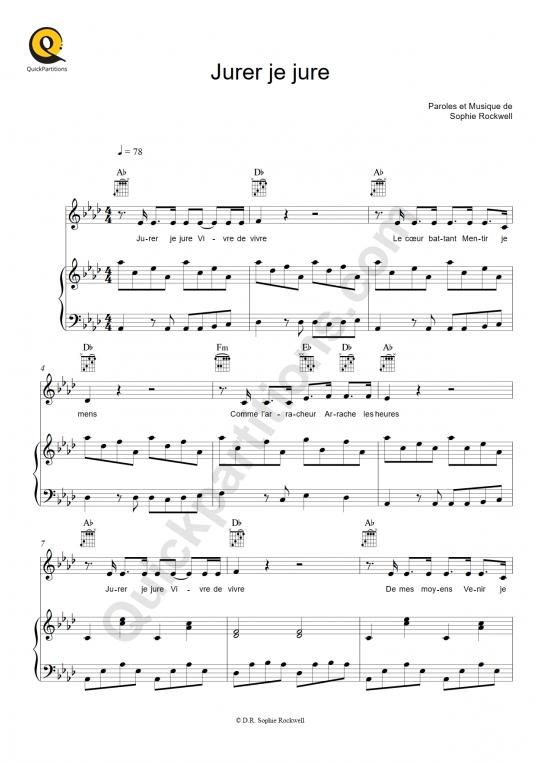 Partition piano Jurer je jure - Sophie Rockwell