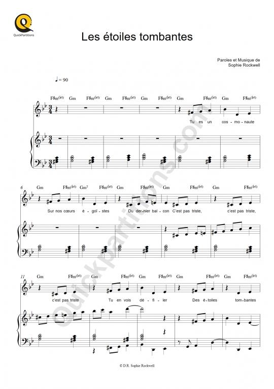 Partition piano Les étoiles tombantes - Sophie Rockwell