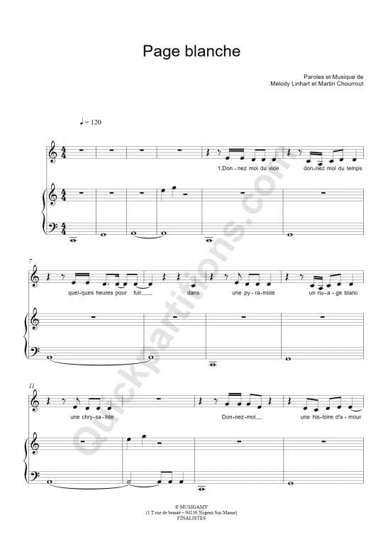 Partition piano Page blanche - Dynah