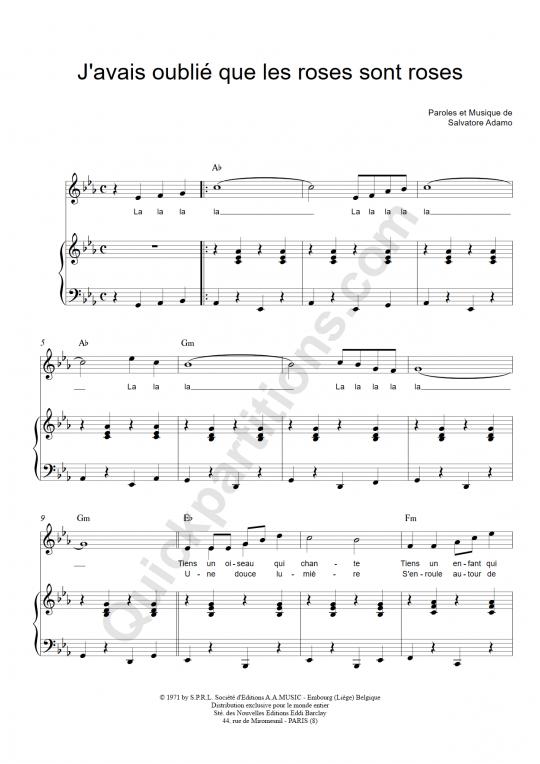 Partition piano J'avais oublié que les roses sont roses - Salvatore Adamo