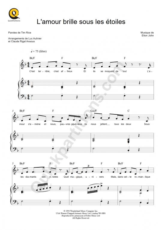 Partition piano L'amour brille sous les étoiles - Le roi lion